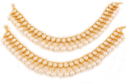 Majestic Faux White Pearls Kundan Look Designer Anklets in Gold Tone.-PWPJL050-01K--Y
