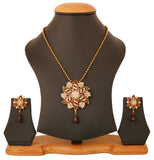 Touchstone Antique Gold Plated Floral Meenakari Pendant Set- PWPSL114-01A--G