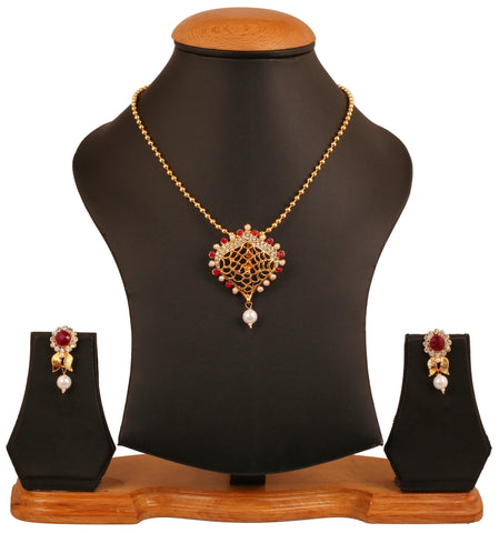 Touchstone golden plated Indian bollywood Kundan look colorful jewelry pendant set for women