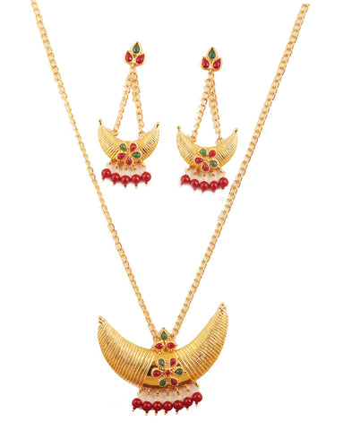 Crescent Half Moon Faux Ruby Emerald Classic Look Pendant In Gold Tone-PWPSL124-01KREY