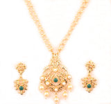 Classy Indian Kundan Look Faux Pearls Emerald Pendant Set In Gold Tone-PWPSL125-01PE-Y
