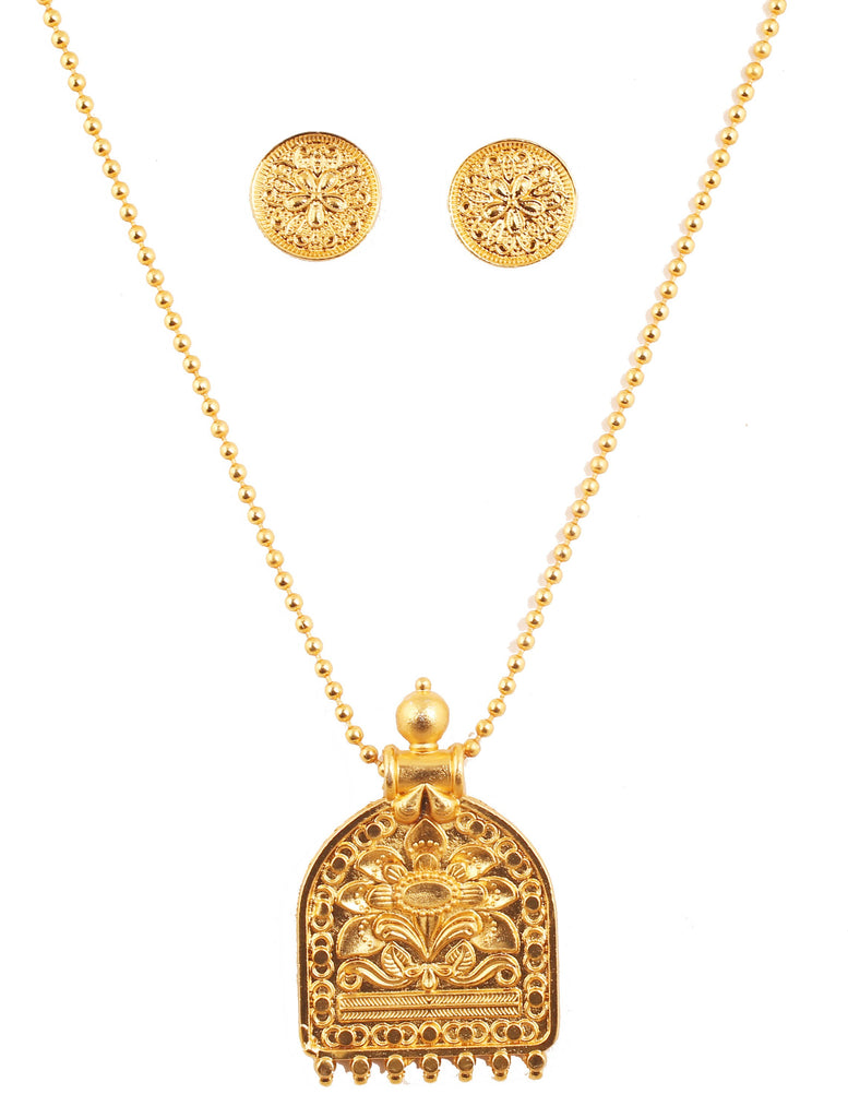 Artistic South Temple Filigree Embossing Pendant In Antique Gold Tone-PWPSL126-01---G