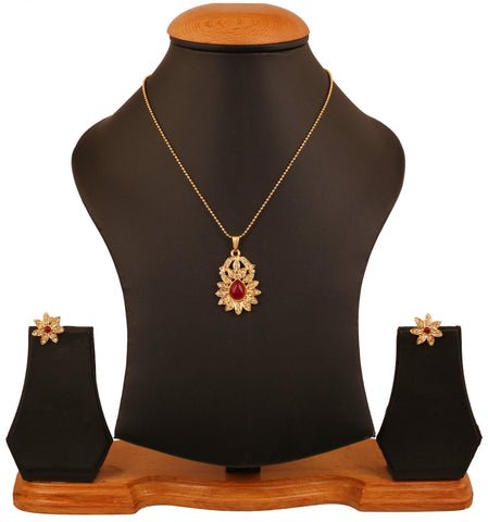 Touchstone golden plated  Indian bollywood white rhinestones red faux rubies jewelry pendant for women