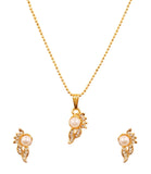 Touchsonte golden plated Indian bollywood paisley white stones faux pearls jewelry pendant set for women