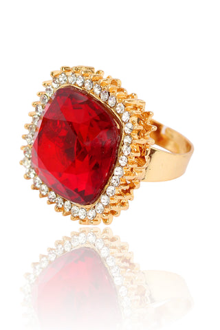 Touchstone Austrian Diamonds With Red Glass Stone Ring - PWR-J001-01AR-Y