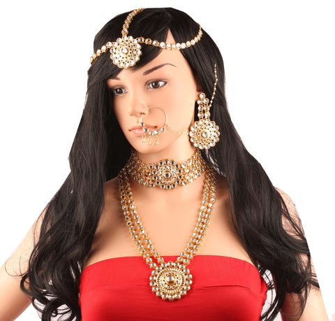 Kundan Look Ranihar Choker Matha Patti Head Accessory In Gold Tone-TSCO-263-01----
