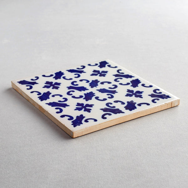 Porto tile - handpainted, handmade patterned blue and white tiles from Everett and Blue