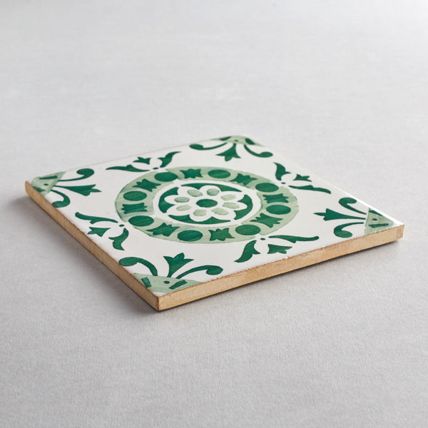 Alfama tile - handpainted, handmade patterned green and white tiles from Everett and Blue