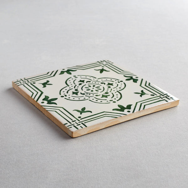 Mafra tile - handpainted, handmade patterned green and white tiles from Everett and Blue