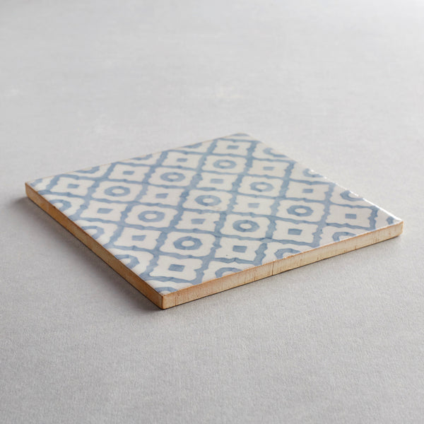 Monchique tile - handpainted, handmade patterned grey and white tiles from Everett and Blue