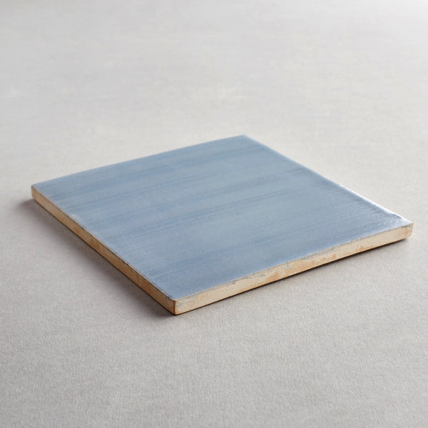 Cinza Simples tile - handpainted, handmade grey tiles from Everett and Blue