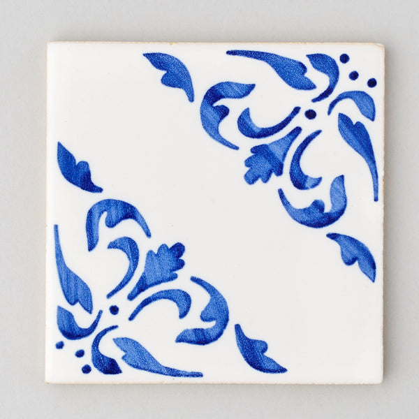 Coimbra tile - handpainted, handmade patterned blue and white tiles from Everett and Blue