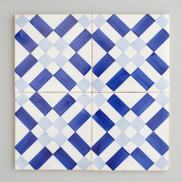 Lisboa tile - handpainted, handmade patterned blue and white tiles from Everett and Blue