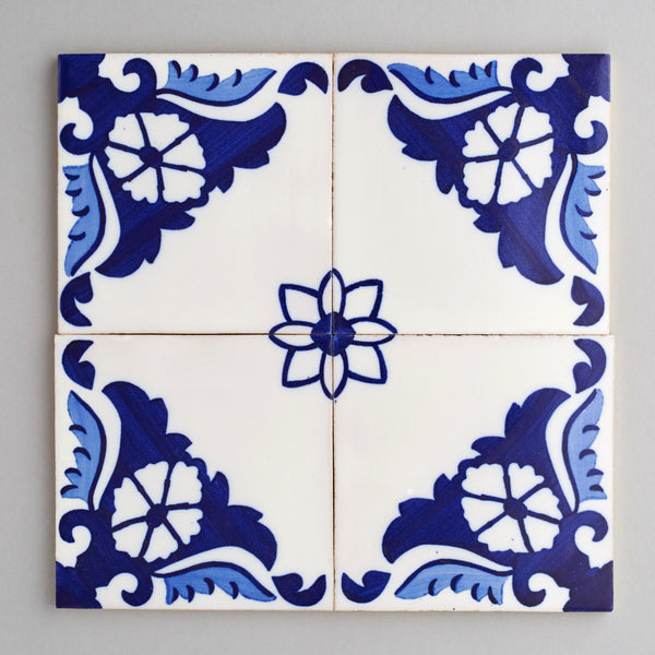 Cascais tile - handpainted, handmade patterned blue and white tiles from Everett and Blue