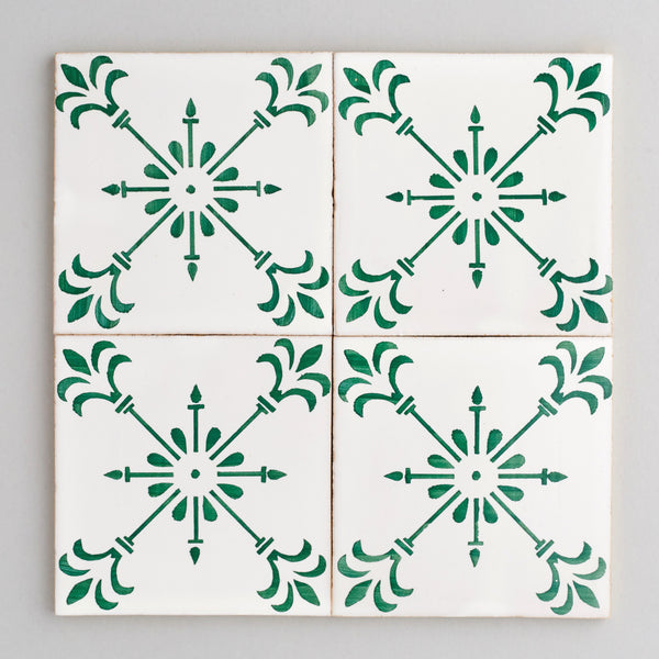 Beja tile - handpainted, handmade patterned green and white tiles from Everett and Blue