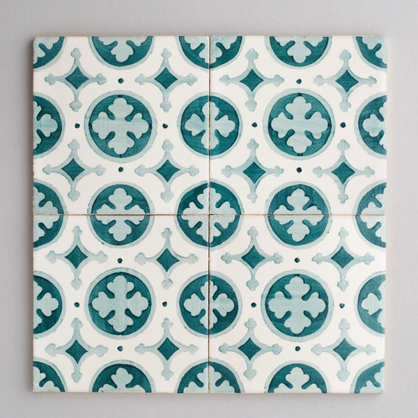 Braga tile - handpainted, handmade patterned green and white tiles from Everett and Blue