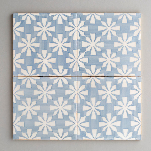 Gaia tile - handpainted, handmade patterned grey and white tiles from Everett and Blue