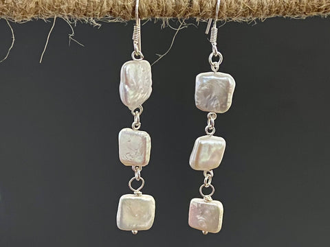 Baroque Pearl Earrings in Silver