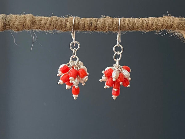 Coral with Pearls & Silver Earrings in Grape Design