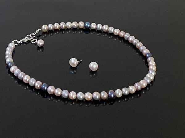 Pearl String in Mixed Color Hues in Silver