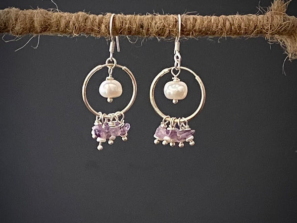 Pearl and Amethyst Hoop Earrings in Silver