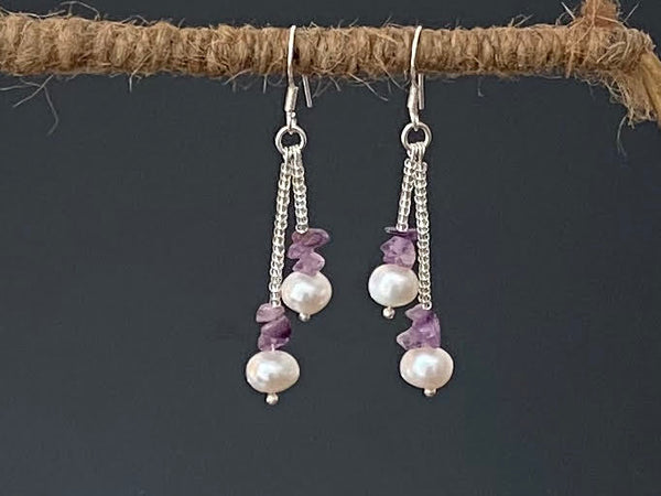 Pearl with Amethyst, Seed Beads and Silver Earrings