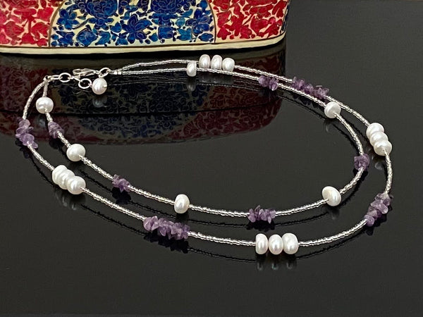 Pearls and Amethyst Two Layer Neckwear