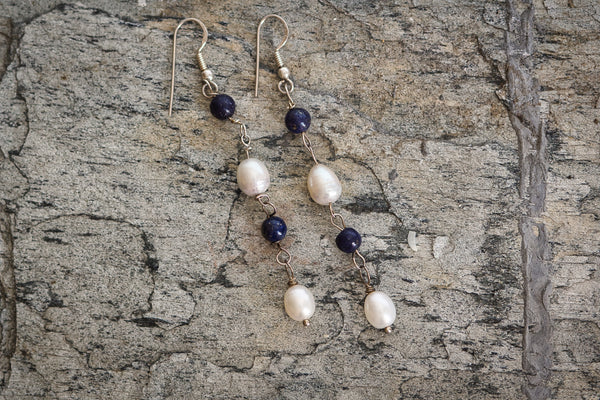 Freshwater Pearls Amethyst and 92.5 Sterling Silver Earrings