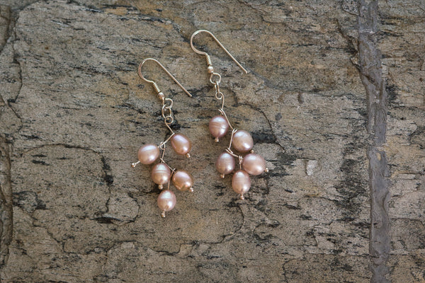 Pink Freshwater Pearls and 92.5 Sterling Silver Leaf Design Earrings Fallaknumaa
