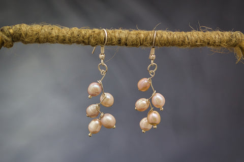 Pink Freshwater Pearls and 92.5 Sterling Silver Leaf Design Earrings
