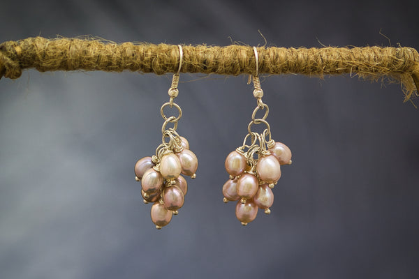 Peach Oval Pearls in Grape Design on  Silver Earring