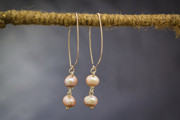 Pink Freshwater Pearls on 92.5 Sterling Silver Earring