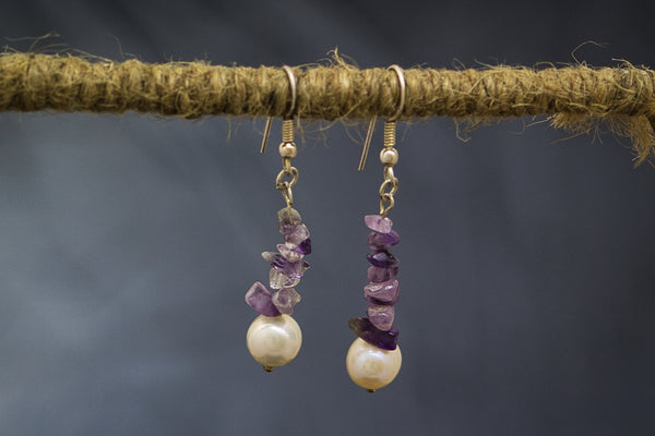 Freshwater Pearl and Amethyst on 92.5 Sterling Silver Earring Fallaknumaa
