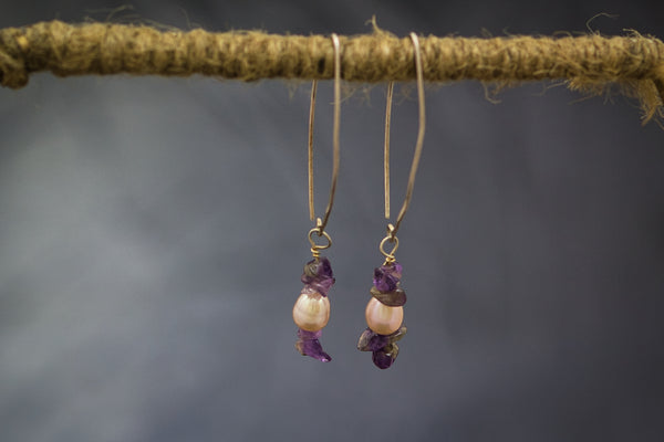 Pink Pearls with Amethyst on 92.5 Sterling Silver Earrings  Fallaknumaa