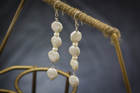Coin Pearls with White Freshwater Pearls and 92.5 Sterling Silver Fallaknumaa