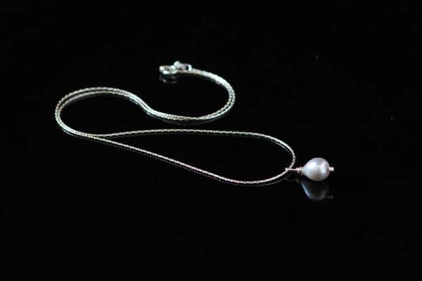 Grey Drop Freshwater Pearl on Silver Chain Neckwear