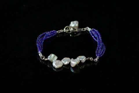 Baroque Pearls with Blue Seeds Beads and 92.5 Sterling Silver Fallaknumaa