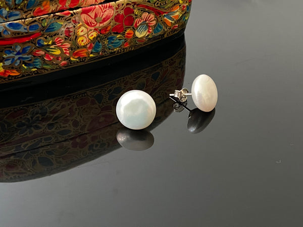 White Coin Pearl Stud Earrings in Silver