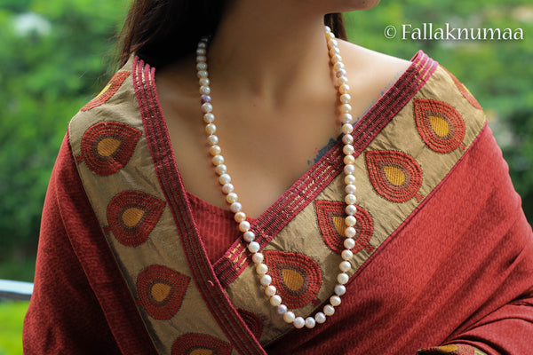 Fallaknumaa white and pink pearl strings handknotted
