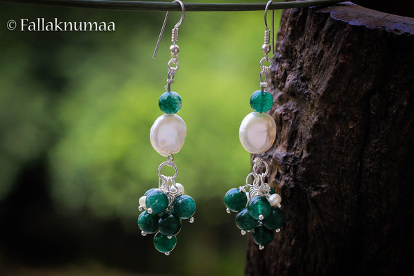 Coin Pearls with Jade Rocks and Silver Earrings