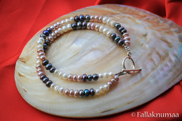 Pink White Black Pearls in Silver Bracelet