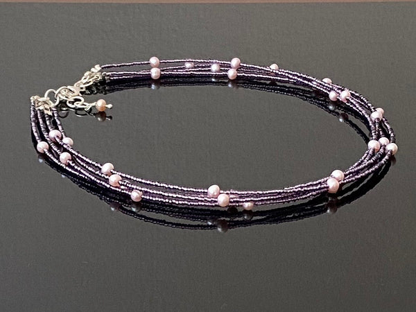 Pink Pearl with Seed Beads and Silver Choker