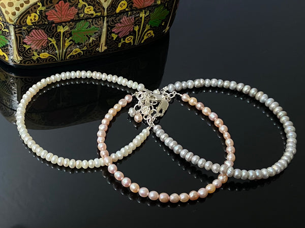 Tri-Color Stacked Pearl Bracelet