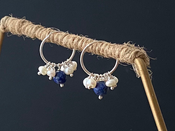 Lapis Lazuli with Pearls on Silver Hoop