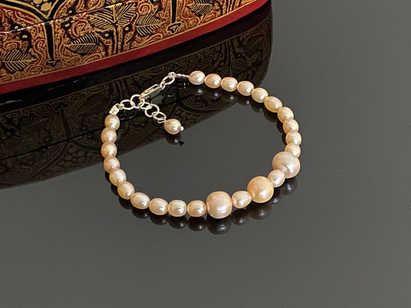 Pink Pearls with Silver Bracelet