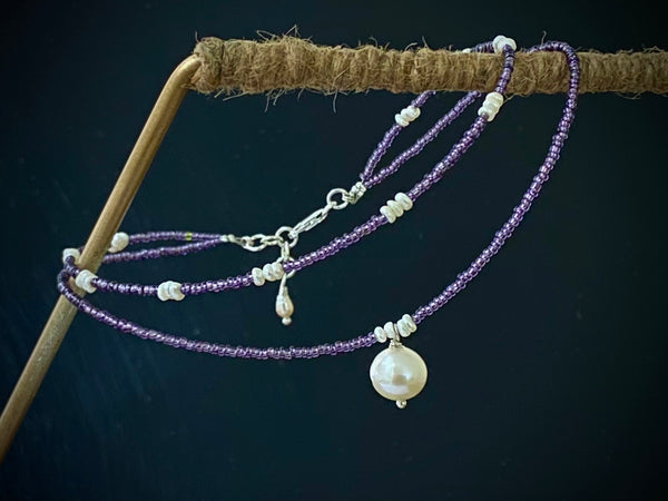 Pearls and Plum Seed Beads Anklet with Silver