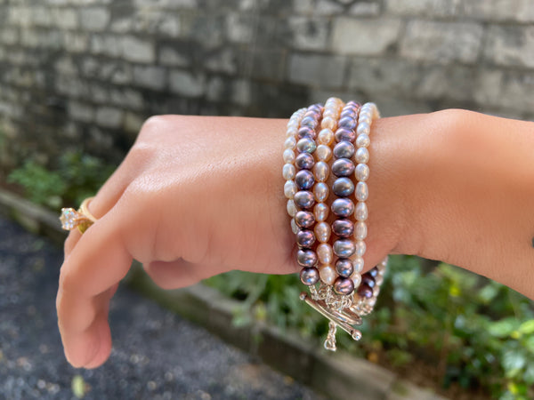 Five Layer Pearls Bracelet in Silver