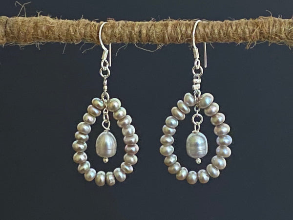 Grey Pearl Hoop Silver Earrings