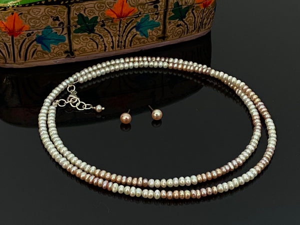 Peach & White Long Neckwear with Silver
