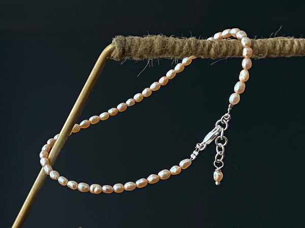 Peach Pearl Anklet with Silver